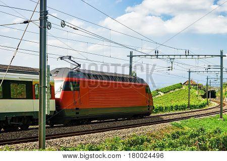 Train On Railroad On Lavaux Vineyard Terraces