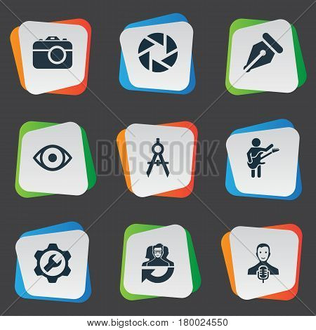 Vector Illustration Set Of Simple Creative Thinking Icons. Elements Contemplation, Hobby, Leadership And Other Synonyms Eye, Wrench And Aperture.