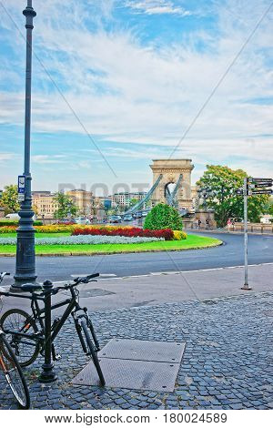 Bicycle And Szechenyi Chain Bridge In Budapest