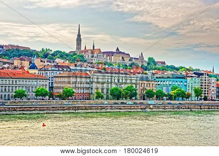 Buda With Spire Of Matthias Church And Danube River Budapest
