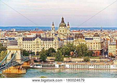 Chain Bridge Over Danube River And St Stephen Basilica Budapest