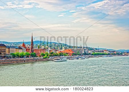 Cruises And Buda City With Churches Spires At Danube