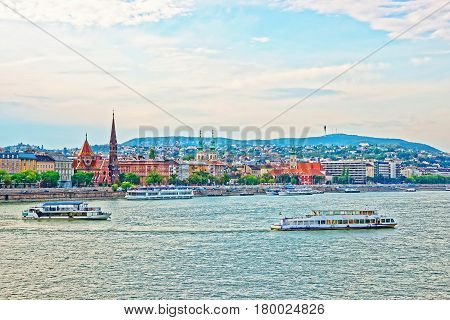 Cruises And Buda City With Churches Towers At Danube
