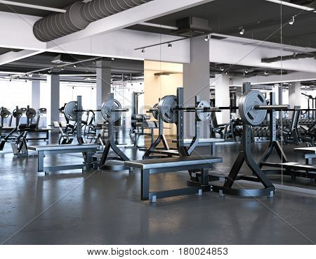 Modern gym with bench press and dark floor. 3d rendering