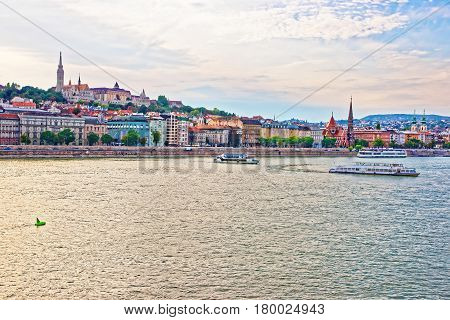 Ferries In Danube River And Buda City Embankment In Budapest