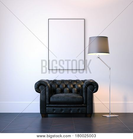 Modern interior with black armchair and blank picture frame on the wall. 3d rendering