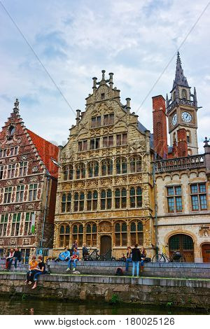 Guildhalls And Clock Tower In Ghent Of East Flanders