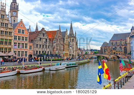 Guildhalls And Clock Tower In Graslei Ghent