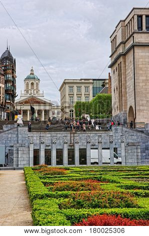 Mont Des Arts Garden And Kings Place Square In Brussels