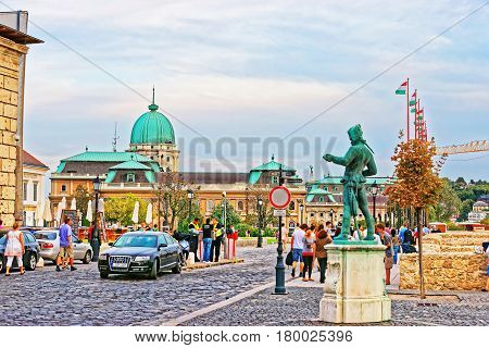 People At Buda Castle And National Szechenyi Library In Budapest