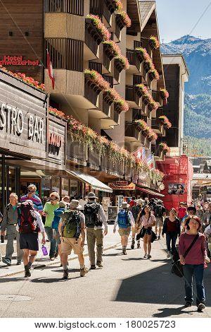 Tourists At City Center Of Zermatt In Summer