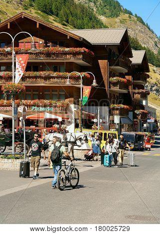 Tourists At City Center In Zermatt In Summer