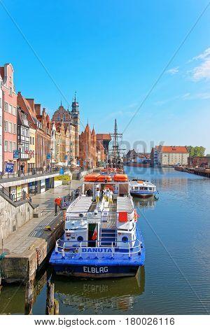 Ferry At Waterside Of Motlawa River In Gdansk