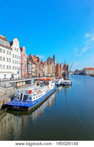 Ferry Boats At Waterside Of Motlawa River Of Gdansk