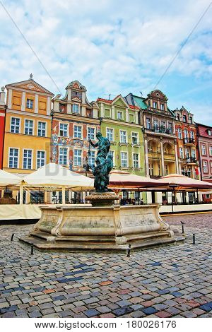 Fountain Of Neptune At Old Market Square Poznan