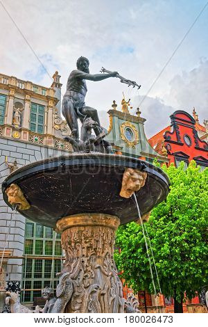 Neptune Monument On Long Market Square Of Gdansk