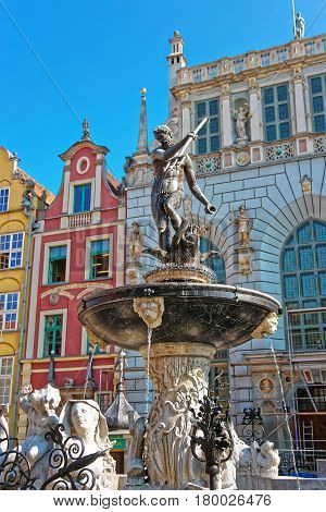 Neptune Sculpture On Long Market Square In Gdansk