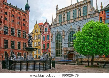 Neptune Sculpture On Long Market Square Of Gdansk
