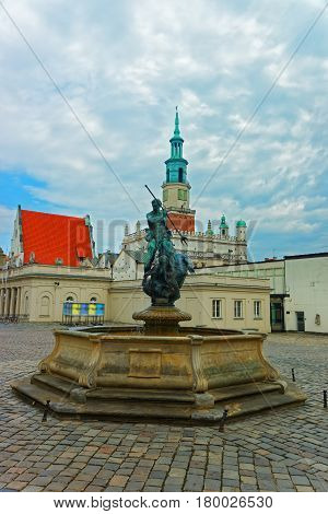Neptune Fountain At Old Market Square In Poznan