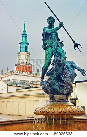 Neptune Fountain In Old Market Square Poznan