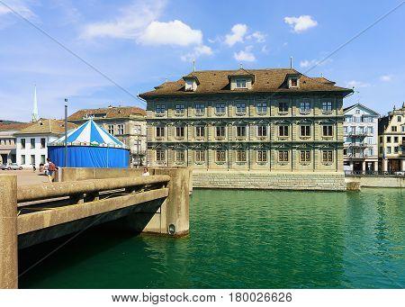 Old Town Hall In Limmat Zurich Swiss