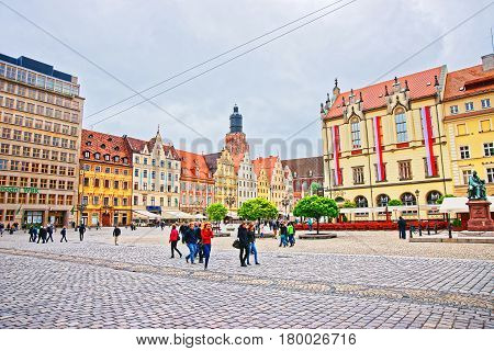 People At New Town Hall At Market Square Of Wroclaw