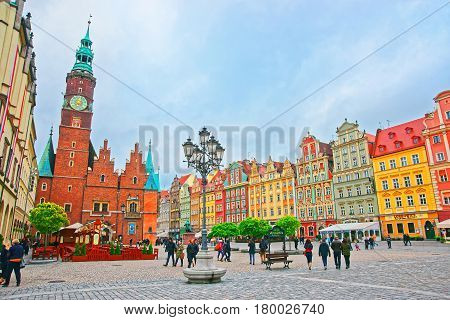 People At Old Town Hall In Market Salt Square Wroclaw