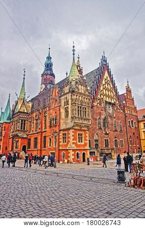 People At Old Town Hall In Market Square Of Wroclaw