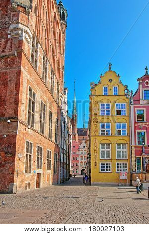 Street And Fragment Of St Mary Basilica Gdansk