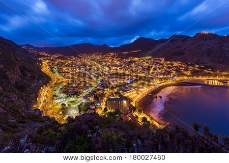 Town Machico in Madeira Portugal - travel background