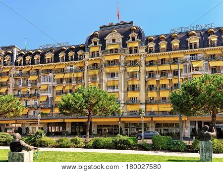 Garden And Luxury Hotel On Geneva Lake Riviera In Montreux