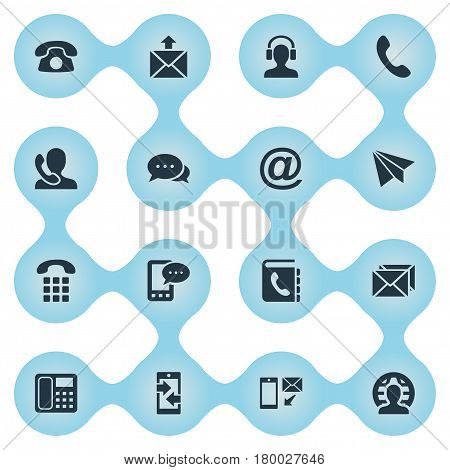 Vector Illustration Set Of Simple Communication Icons. Elements Earpiece, E-Mail Symbol, House Phone And Other Synonyms Symbol, Communicator And Mail.