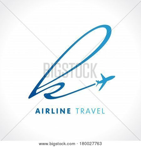 K letter travel company logo. Airline business travel logo design with letter
