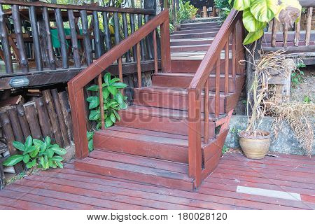 Old Wooden Stairs In The Garden, Selective Focus On The Steps.