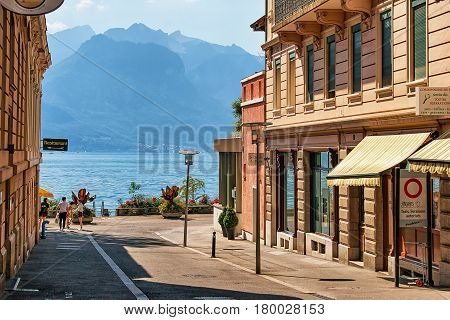 Street In Montreux Town Center At Geneva Lake