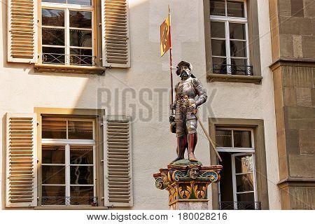 Banneret Fountain On Rathausplatz In Old City Center Of Bern