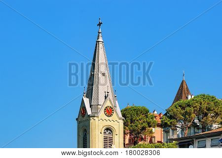 Church Clock Tower At Geneva Lake Riviera In Montreux