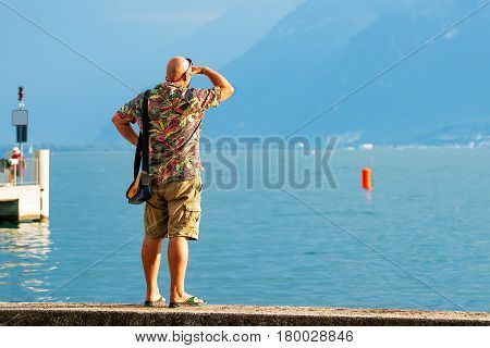 Man At Embankment On Geneva Lake In Vevey