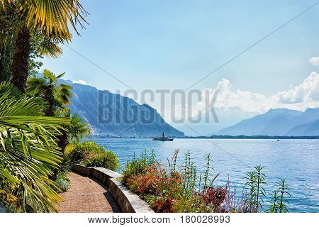 Nature With Ship On Geneva Lake In Montreux