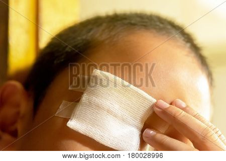 Wound care,Or wound on eye of child.Close up and concept for health