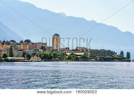 Panorama Of Montreux Town In Geneva Lake