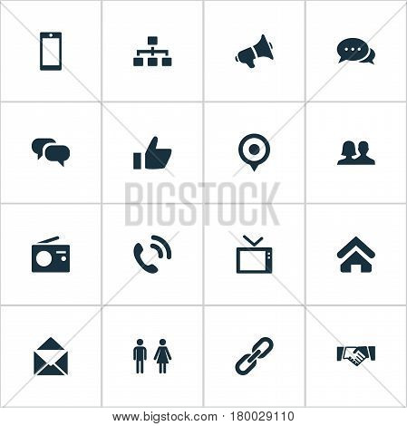 Vector Illustration Set Of Simple Transmission Icons. Elements Partner, House Location, Conversation And Other Synonyms Partnership, Agreement And Smartphone.