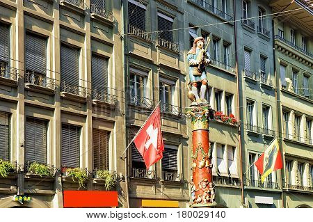Piper Fountain At Spitalgasse Street Of Bern
