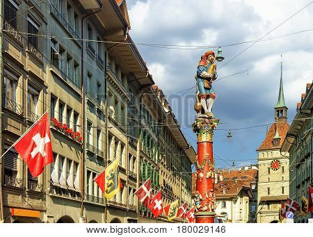 Piper Fountain On Spitalgasse Street In Bern