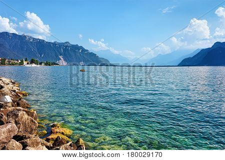 Riviera With Alps Mountains And Geneva Lake In Vevey