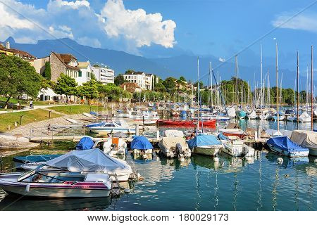 Sail Boats At Marina On Geneva Lake Riviera In Vevey
