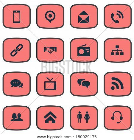Vector Illustration Set Of Simple Network Icons. Elements Smartphone, Headphone, Handset Synonyms Talking, Relationship And Television.