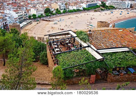 Beach Full Of People At Tossa De Mar