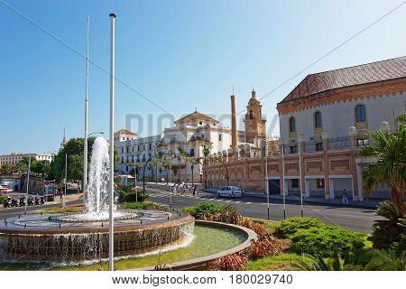 Congress Palace And Santo Domingo Church In Cadiz