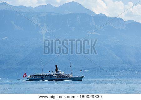 Ferry In Geneva Lake In Lausanne
